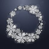 Christmas silver glittering snowflakes background Stock Image