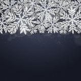Christmas silver glittering snowflakes background Stock Photo