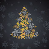 Christmas silver and gold snowflakes tree Stock Photos
