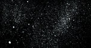 Christmas silver metallic gradient sparkle glitter explosion dust particles background with bokeh flowing falling down in slow. Motion, holiday happy new year stock video footage