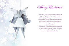Christmas silver origami angel Stock Image