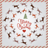 Christmas silver post card with dancing deer Stock Image