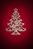 Christmas silver tree on red Royalty Free Stock Photography