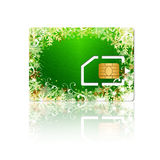 Christmas sim card with chip over white background Stock Image