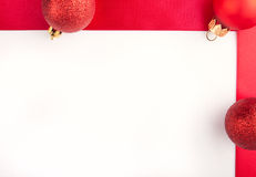 Christmas simple frame with red bulbs royalty free stock photos