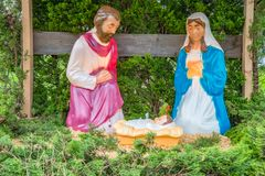 Christmas Simple Outdoor Church Nativity Scene. Simple plastic outdoor nativity scene with Saint Joseph, the Virgin Mary, and Baby Jesus stock images