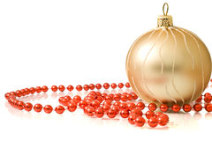 Christmas- single decoration ball with red beads Royalty Free Stock Images