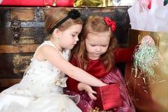 Christmas sisters Stock Image