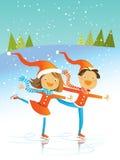 Christmas skating. Two kids wearing santa costumes, skating, vector winter illustration Stock Photos