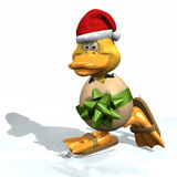 Christmas Skating Duck. Baby duckling skating at Christmas time royalty free illustration