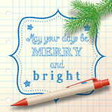 Christmas sketch with ballpoint and small branch Royalty Free Stock Images