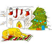 Christmas sketch card Stock Photo