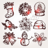 Christmas Sketch Collection Of Attributes And Symbols Royalty Free Stock Photography