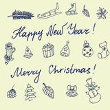 Christmas sketch. Congratulations with New year in Typographic style. Royalty Free Stock Photos