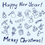 Christmas sketch. Congratulations with New year in Typographic style. Royalty Free Stock Photo