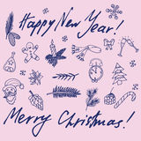Christmas sketch. Congratulations with New year in Typographic style. Stock Images