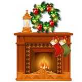 Christmas sketch with fireplace and decorations, glass balls and baubles. Sketch for greeting card, festive poster. Party invitation. The attributes of stock illustration