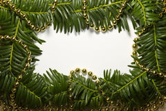 Christmas sketch with frame of realistic spruce branches. Close up Royalty Free Stock Photo