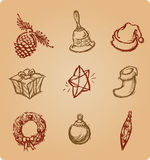 Christmas Sketch Icons Set Royalty Free Stock Photography