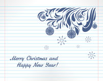 Christmas sketch on the notebook page Royalty Free Stock Photo