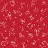 Christmas sketch pattern. Christmas sketch seamless pattern with hand drawn decorations Royalty Free Stock Photos