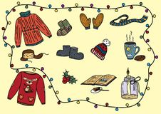 Christmas sketch with themed objects vector illustration Royalty Free Stock Images