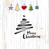 Christmas sketch on wooden background stock illustration