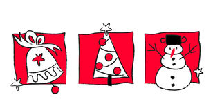 Christmas sketches. Three colours hand drawn Christmas sketches royalty free illustration