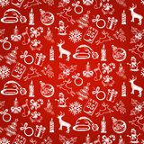 Christmas sketches on seamless red background Stock Images