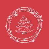 Christmas sketchy set. EPS 10. No transparency. Christmas elements christmas tree in frame Royalty Free Stock Image