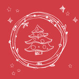 Christmas sketchy set. EPS 10. No transparency. Christmas elements christmas tree in frame. Christmas sketchy set. EPS 10 Christmas elements, christmas tree in Royalty Free Stock Photography