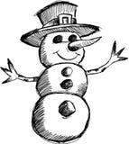 Christmas sketchy Snowman Vector Royalty Free Stock Photography