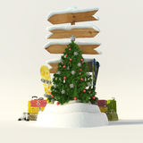 Christmas skiing trip. 3D rendering of a Christmas tree, a snow covered directional sign with skis and snowboard vector illustration