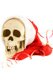 Christmas skull. Isolated on the white background royalty free stock photo