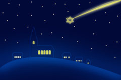 Christmas sky over church. Illustration of a night sky with shooting stars over church and buildings Stock Images