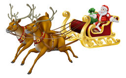 Christmas sled. Illustration of Santa in his Christmas sled being pulled by reindeer Royalty Free Stock Photography