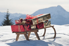 Christmas sled. On the snow Stock Images