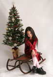 Christmas sled. Young girl sitting on antique sled in front of Christmas tree Stock Photos