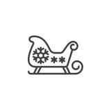Christmas Sled, Santa`s Sleigh line icon, outline vector sign, l. Inear pictogram isolated on white. logo illustration stock illustration