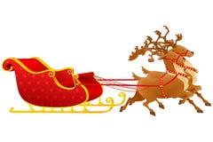 Christmas Sledge. Vector illustration of reindeer pulling Gloden Christmas Sledge Royalty Free Stock Photography