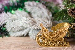 Christmas sledge on wood Royalty Free Stock Image