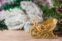 Christmas sledge on wood Royalty Free Stock Image