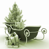Christmas sledges of Santa with gifts and Christmas tree Stock Photos
