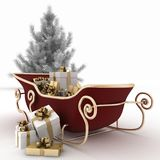 Christmas sledges of Santa with gifts and christmas tree Royalty Free Stock Photography