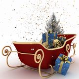 Christmas sledges of Santa with gifts, of confetti and christmas tree Stock Images