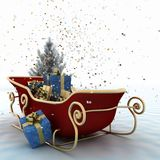 Christmas sledges of Santa with gifts, of confetti and christmas tree Royalty Free Stock Photo