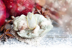Christmas sleeping angel decoration Stock Image