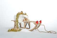 Christmas sleigh. With golden ornaments Royalty Free Stock Photography