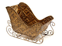 Christmas sleigh. Empty, golden Christmas sleigh with copy space Stock Image
