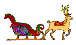 Christmas sleigh alternative with reindeer on white background Stock Photography
